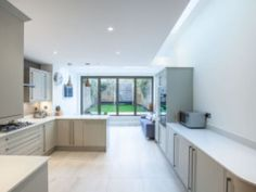 When this customer realized that upgrading to a larger home is unfeasible they decided to transform their pretty Victorian cottage in Teddington into the space they craved. Victorian Cottage, Kitchen Design, Kitchen Ideas, Large Homes, Lofts, Kitchen Cabinets, House Design, Kitchen Extensions, Skylights