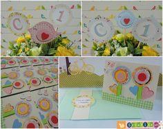 Convite e enfeites para decorar a festa.  Tema Jardim Secreto