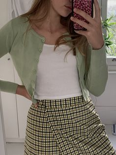 skirt, cardigan, tank: brandy melville phone case: wildflower cases Source by Outfits for college Style Outfits, Mode Outfits, Cute Casual Outfits, Summer Outfits, Girl Outfits, Green Outfits, 90s Style, Teenager Outfits, Ropa Brandy Melville