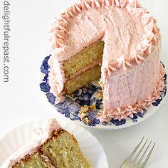 Orange Vanilla Butter Cake with Fresh Strawberry Frosting / www.delightfulrepast.com