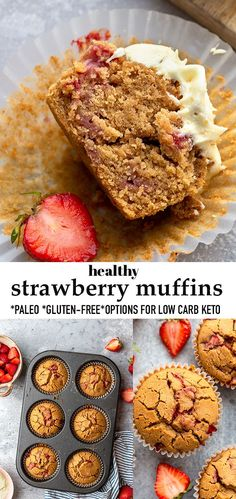 These Strawberry Muffinsare soft, fluffy, moist and easy to make with fresh strawberries, almond flourand maple sugar. They make theperfect healthy breakfast treat orfreezer-friendly snack that the whole family will love! Grain-free, refined-sugar-free, gluten-free, paleo-friendly with low carb keto sweetener options. Make ahead and freezer-friendly and a delicious summer treat. #strawberrymuffins #paleo #glutenfree #breakfast Muffin Recipes, Baking Recipes, Cookie Recipes, Vegan Recipes, Kitchen Recipes, Bread Recipes, Strawberry Muffins Healthy, Healthy Baking, Healthy Desserts