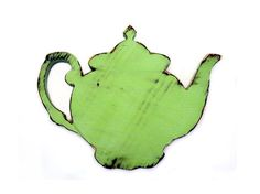 Wooden Tea Pot (Pictured in Moss) Pine Wood Sign Wall Decor Rustic Americana French Country Chic