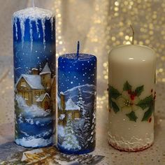Новогодний декупаж Christmas Tree Decorations Ribbon, Christmas Candles, Xmas Ornaments, Cute Candles, Diy Candles, Pillar Candles, Christmas Decoupage, Christmas Crafts, Candle Craft