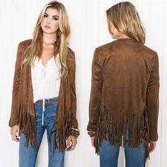 Fashion Women's Casual Long Sleeve Tassel Cardigan Sweater Jacket Coats Outwear Autumn PY3 L4 H2
