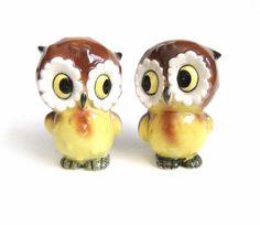 Hibou sel et poivre Shaker Set, Vintage Japon Kitsch hibou, chouette décor, Figurines chouette
