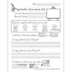 Fichier PDF téléchargeable En noir et blanc 2 pages Cet exercice permet à l'élève d'exprimer son opinion et d'apprendre à connaître ses goûts en matière d'art. Il doit également reconnaître si l'artiste a utilisé des couleurs chaudes ou froides. La toile sur la feuille d'exercice peut servir d'espace de dessin. Le document contient une page avec trottoirs et une page avec lignes doubles selon vos besoins.