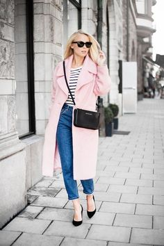 Gorgeous pink long coat in Paris streets ... Casual style: nautical marinière & Jeans │Rent the perfect outfit for your next trip on Style Lend, Download the app: www.stylelend.com