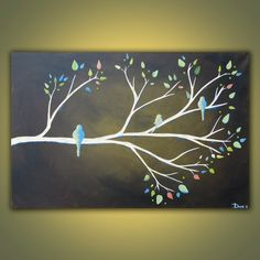 Spring Branch original acrylic bird painting by DanlyesPaintings