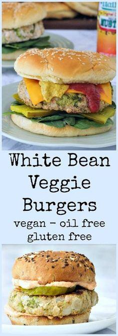 White Bean Veggie Burgers @spabettie #vegan #glutenfree #oilfree