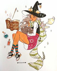 Witch by Vicki Sigh Witch Aesthetic, Aesthetic Art, Pretty Art, Cute Art, Character Inspiration, Character Art, Art Sketches, Art Drawings, Witch Drawing