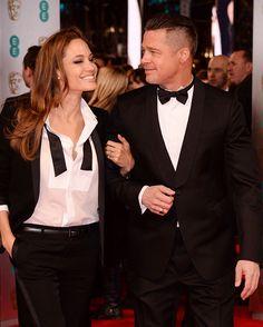 GORGEOUS!!!!!!  Angelina Jolie & Brad Pitt Stun In Matching Tuxedos At The BAFTAs #Refinery29