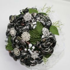 Large Brooch Bridal Bouquet.  Having a Camo Wedding?  Conceal Camo matching everything!  This large camo bouquet is made with21 handmadeconceal camo roses. Each rose is about4 - 41/2...@ artfire