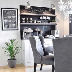 Love the idea of a coffee bar! Seeing this more often in new builds these days.   Click Like and tag a coffee loving friend whod be into this idea!! photo credit: @home_by_virginia