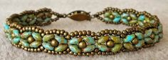 Linda's Crafty Inspirations: Bracelet of the Day: SuperDuo Rosette Bracelet - Turquoise Picasso