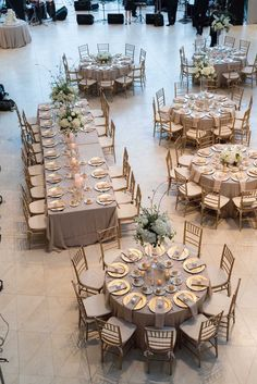 Gold and White Wedding Reception Table Layout   St. Pete Museum of Fine Arts