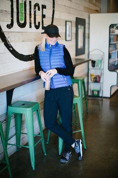 Lauren Ralph Lauren Blue Puffer Vest and Zella Dance Dance Pants Nike Sneakers