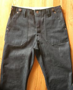 The Slowboat Deadstock Utility Pants (Cone Mills 13.5oz selvage denim w. hand-set copper rivets)