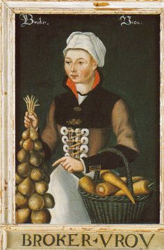 Woman with onions and carrots (?), 16th century from a set of 24 panel paintings of Noord-Holland women currently on display in the Kaasmuseum (cheese museum) in Alkmaar, Netherlands.