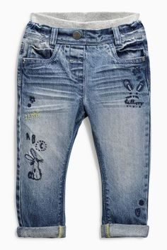 Denim Grey Embroidered Pull-On Jeans (3mths-6yrs)