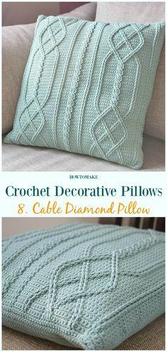 Cable Diamond Pillow Crochet Free Pattern - #Crochet; Decorative #Pillow; Free Patterns
