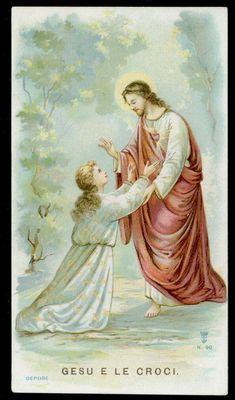 santino cromo-holy card S.LEGA n.90 GESU' E LE CROCI Catholic Art, Roman Catholic, Religious Art, Jesus E Maria, Jesus Photo, Vintage Holy Cards, Life Of Christ, Heart Of Jesus, Eucharist