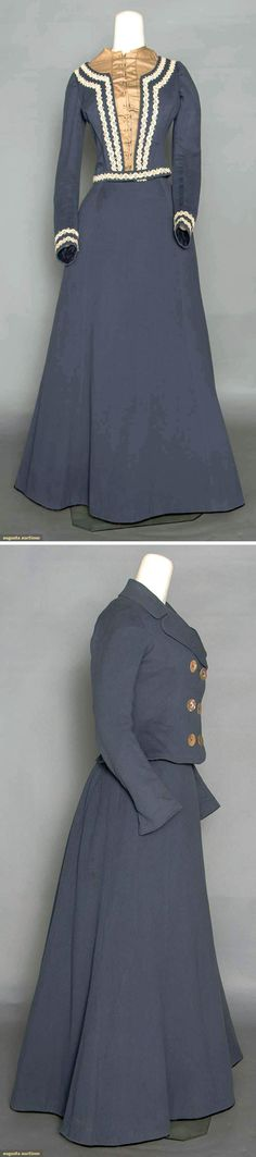 Promenade ensemble ca. 1900. Three pieces. Cadet blue wool with long A-line skirt, fitted long-sleeved bodice with white braid trim, and fitted double-breasted jacket. Augusta Auctions