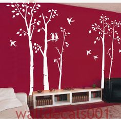 Vinyl Wall Decals wall Sticker tree decals wall Art - birds in birch forest