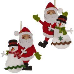2 Merry Christmas Party Waving SANTA & SNOWMAN Felt Hanging Tree Decorations #Festive