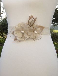 Rustic Flower Sash Belt Muslin Roses with Burlap and Ivory