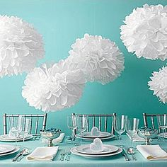 """Tiffany"" Blue and White decor… Bridal Shower :  wedding audrey hepburn black blue breakfast at tiffanys bridal shower chair signs diy pearl silver teal tiffany blue white Tissue Paper Poms"