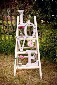 Cute for valentines day - you could use the ladder year round and just change the decorations