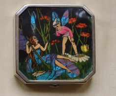 GORGEOUS ART DECO FAIRY COMPACT IRIDESCENT BUTTERFLY WING RARE - free shipping in Collectables, Vanity/ Perfume/ Grooming, Compacts | eBay