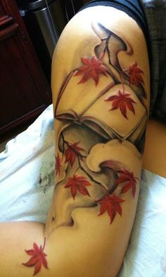 book tattoos | Paradise Tattoo Gathering : Tattoos : Traditional Japanese : Book and ... book tattoo, ink art, book worms, white design, fall leaves, arm tattoos, tattoo artists, leg tattoos, leaf tattoo