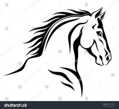 Horse Outline stock photos and royalty-free images, vectors and illustrations Painted Horses, Cartoon Silhouette, Horse Silhouette, Horse Stencil, Stencil Art, Horse Drawings, Animal Drawings, Horse Head, Horse Art
