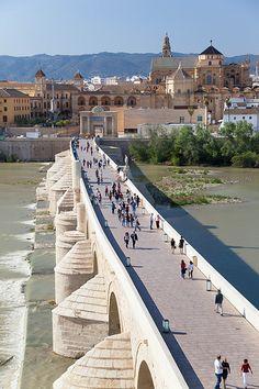 """Córdoba    El puente romano de Córdoba fue construido en el siglo I a.C. sobre el rio Guadalquivir, tiene una longitud de 331 m cuenta con 16 arcos, originalmente constaba de 17. Probablemente fuera parte de la vía Augusta que discurría desde Roma a Cádiz.  En la actualidad sirve de unión entre el Campo de la Verdad con la ciudad del Barrio de la Catedral. Es conocido popularmente como """"el Puente Viejo""""."""