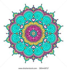 Vector hand drawn doodle mandala with hearts. Ethnic mandala with colorful ornament. Isolated. Pink, white, yellow, green colors. - stock vector