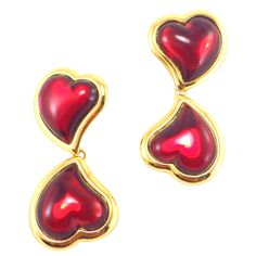 Yves Saint Laurent Gripoix Poured Glass Heart Drop Earrings | From a unique collection of vintage drop earrings at http://www.1stdibs.com/jewelry/earrings/drop-earrings/