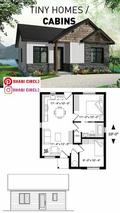 Tiny House Plans 697283954786782623 - Contemporary rustic home, scandinavian inspired, low building costs, ideal for first-home buyers, 2 bedrooms Source by Small Rustic House, Tiny House Cabin, Tiny House Design, Modern Small House Design, Sims House Plans, Small House Floor Plans, Low Cost House Plans, Basement Floor Plans, 2 Bedroom House Plans