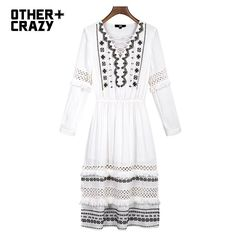 OTHERCRAZY spring new embroidered lace fringed long paragraph dress woman