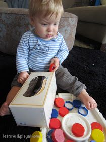 Age : approx. 6 months to 2 years (see bottom for tips) Materials: Cardboard Tissue Box and Milk bottle lids (N is curre...