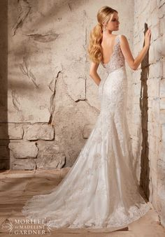2708 Bridal Gowns / Dresses Alencon Lace on Net with Crystal Beading- Available in Three Lengths: 55 inches, 58 inches, 61 inches