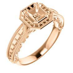 14kt Rose  5mm Asscher Engagement Ring Mounting