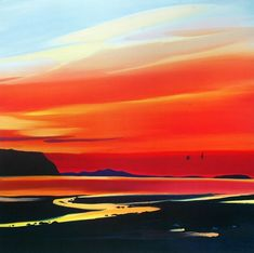 Waterloo Sunset Art Print by Pam Carter at King & McGaw Landscape Art, Landscape Paintings, Waterloo Sunset, Glasgow School Of Art, Sunset Art, Beach Art, Art Plastique, Art Pictures, Amazing Art
