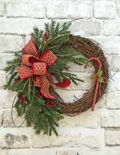 Candy Cane Wreath, Christmas Wreath for Front Door, Front Door Wreath, Christmas Door Wreath,Grapevine Wreath,Christmas Decor,Holiday Wreath