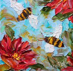 Original oil painting Summer #Bees palette knife abstract impressionism fine art impasto on canvas by Karen Tarlton by Karensfineart on Etsy