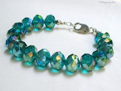 I luv this one! Emerald Crystal Bracelet Sterling Silver  Chunky by DesignsbyCher