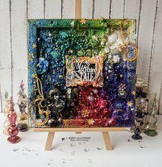 Shiny mixed media decorative canvas by Maria Lillepruun