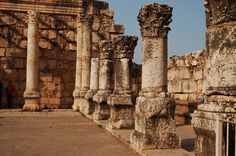 The synagogue at Capernaum, near the Sea of Galilee, in Israel