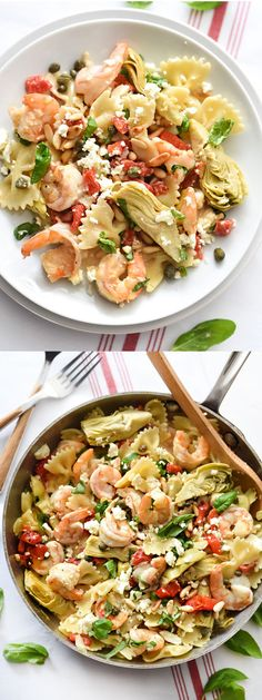 Shrimp Pasta with Roasted Red Peppers and Artichokes, easy and on the table in 30 minutes | foodiecrush.com