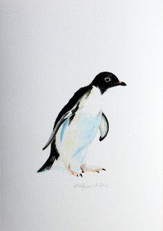 Adelie Penguin an Aquatic Beastie Glicee Print by ellaCute, $25.00
